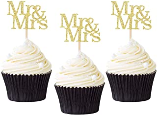 24 Pack of Mr & Mrs Cupcake Picks Gold Glitter Wedding Cucpake Toppers Bridal Baby Shower Party Supplies