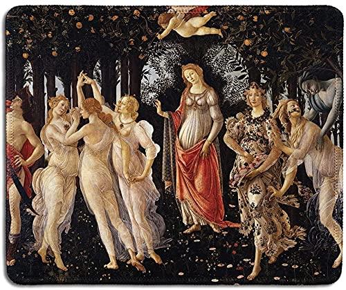 Tappetino per mouse in gomma naturale con famosa pittura artistica di primavera di Sandro Botticelli - bordi cuciti - 24,1 x 20,1 cm