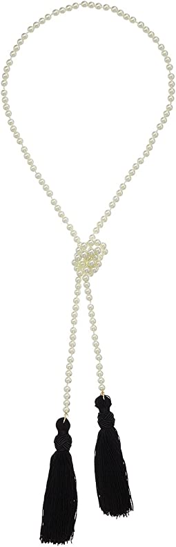 Kenneth Jay Lane - White Pearl Necklace w/ Black Tassels