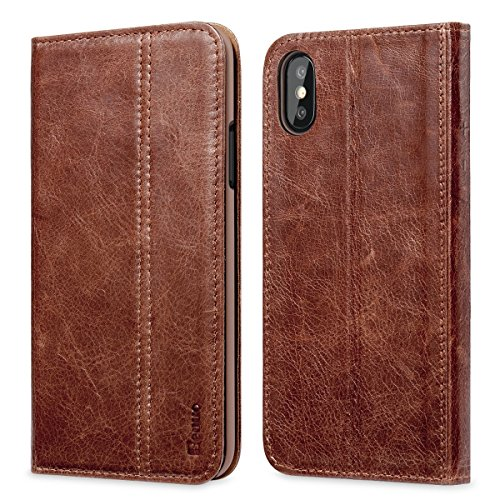 iPhone X Case, Benuo [Vintage Book Series] [Card Holder] Genuine Leather Case [Ultra Soft], Protective Folio Case Flip Cover with Stand for Apple iPhone X 2017