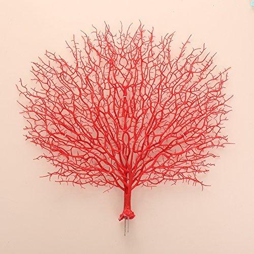 Kicode 46X50CM Pavone corallo Fiore artificiale fiori finti Windowsill per interni ed esterni per le piante in vaso di fiori decorazioni natalizie disposizione della tecnica