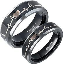 Greenpod 6mm 8mm EKG Heartbeat Wedding Band Silver Black Tungsten Carbide Ring for Men Women Comfort Fit Size 4-15 …