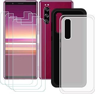 YZKJ [2 stycken skal för Sony Xperia 5 Cover svart halvlätt mjukt silikon skyddande skal TPU skal skal skal 4 x pansarglas...