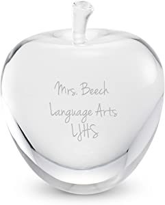 Things Remembered Clear Apple Shaped Crystal Paperweight with Engraving Included