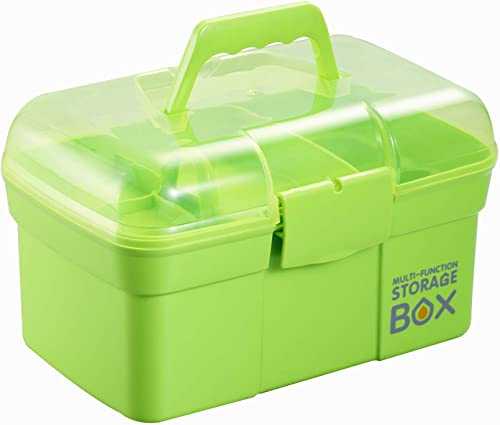 Kinsorcai 11'' Plastic Storage Box with Removable Tray, Multipurpose Organizer and Storage Case for Art Craft and Cos...