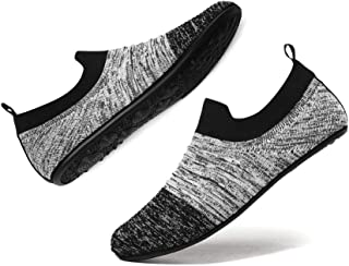 Men House Slippers Shoes Lightweight Yoga Household Soft Comfortable Indoor Outdoor Bedroom Breathable Anti-Slip On Sock Shoes with Rubber Sole