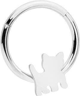 16G Septum Piercing Steel Hinged Segment Ring Cartilage Hoop Cat Nose Hoop 10mm