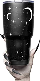 Insulated 30oz Stainless Steel Tumbler with Lid Cute Travel Coffee Mug Hot or Cold Brew Tumblr with Moons and Stars Simple...
