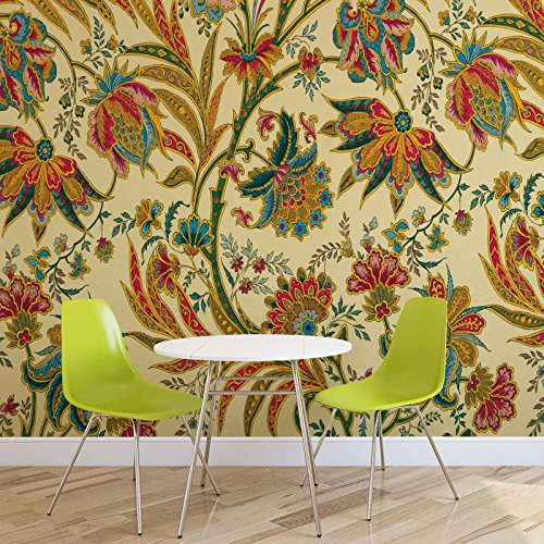 Blumen Pflanzen Muster Vintage - Forwall - Fototapete - Tapete - Fotomural - Mural Wandbild - (1654WM) - XXXL - 416cm x 254cm - VLIES (EasyInstall) - 4 Pieces