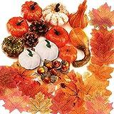 86Pcs Artificial Pumpkins Autumn decoration set, Halloween Mini Fake Pumpkins Pine Cones Maple Leaves Acorns Pomegranate Decoration Set, for Fall Thanksgiving, Wedding, Halloween, Christmas