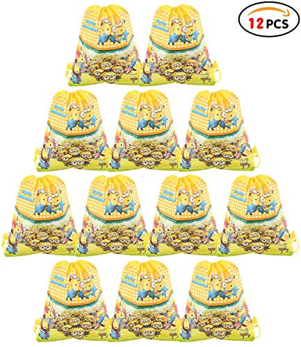 Qemsele Bolsa Mochilas Bolsas de cumpleaños, 12Pcs Tema Reutilizable Bolsas de Fiesta cordón Mochila Bolsas para cumpleaños niños la Fiesta favorece la Bolsa, Rellenos Bolsas Fiesta (Minions)