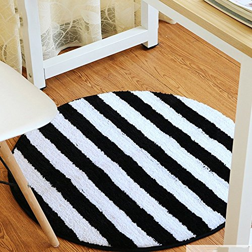 Stripe Black and White Round Carpet