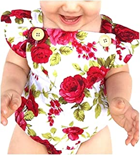 Howely Little Girls' Hair Band Floral Print Romper Sunsuit Jumpsuit