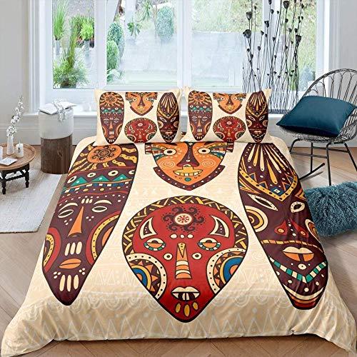 Lvvsovs Bedding set for children individual 135 x 200 cm girl Creative Retro African mask pattern Duvet cover Moisture proof soft smooth