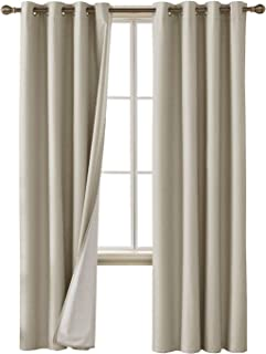 Deconovo Faux Linen Blackout Curtains with 3 Pass Coating Thermal Insulated Room Darkening Curtain Drapes for Living Room Set of 2 Curtain Panels 52 x 84 Inch, Khaki