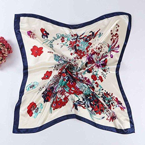 Bobury Femmes Place de Soie Satin Grand Foulard, écharpe pour Les Femmes, écharpe Cou, Echarpe Wrap Papillon Floral Châle 90 * 90cm