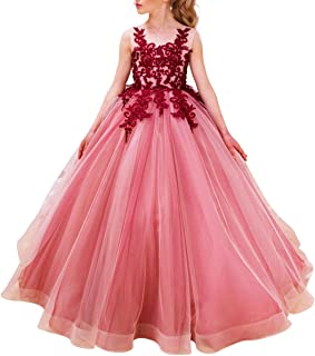 Luxury Burgundy Ball Gown Pageant Dresses for Girls Long Flower Puffy Tulle Prom Wedding Birthday Party 2-15Y