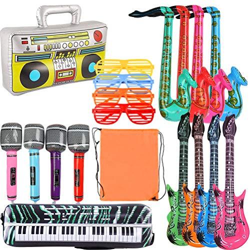 WOWOSS 19 Stück Aufblasbare Rock Star Toy Set - Aufblasbare Gitarre,Mikrofone,Saxophon,Tastatur Klavier, Radioklavier und Gläser für Party Dekoration Prop