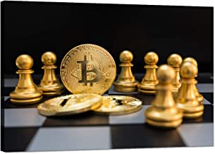 TWO J 1 Piece Canvas Wall Art Painting Modern Giclee Artwork - Golden Bitcoin and Chess Board Game - Picture Prints on Can...