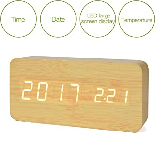 Bashley Digital Alarm Clock, Adjustable Cube Timber-Shaped Time Temperature and Sound Control Desk Alarm Clock for Kid, Home, Office, Everyday, Heavy Truck