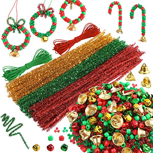 PP OPOUNT 1412 Pieces Christmas Beads Kit Beaded Ornament Includes 1000 Pcs Tri Beads, 200 Pcs Pony Beads, 150 Pcs Pipe Cleaners, 60 Pcs Bells and 2 Pieces Elastic Rope for DIY Christmas Decoration