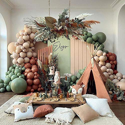 Light Brown Coffee with Sage Green Balloon Arch Kit for Party Birthday Wedding Engagement Anniversary Christmas Festival Picnic or Any Friends & Family Party Decorations