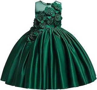 OBEEII Christening Baptism Gown for Baby Girls Toddler Kid Flower Applique Tutu Dress