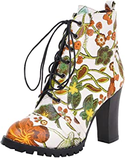 ELEEMEE Women Chunky Heel Ankle Boots Floral Lace Up