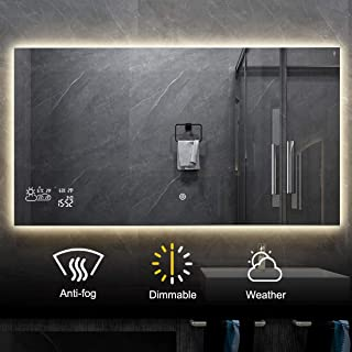 BYECOLD Horizontal Vanity Bathroom Mirror with Dimmable LED Light Touch Switch Demister Weather Forecast Lighted Makeup Mirror Wall Mirror-47.2''x 23.6''