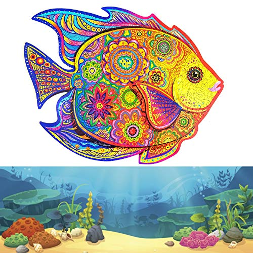 Holzpuzzle Holz-Puzzles, Einzigartige Form Puzzleteile Baustein Puzzle Spielzeug Mysterious Tier Wooden Jigsaw Puzzle Rainbow Fish A5 (Rainbow Fish)
