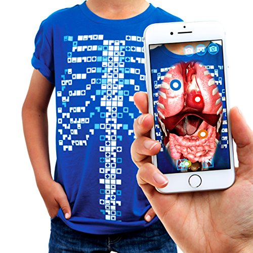 Curiscope Unisex-Kinder Virtuali-Tee | Educational Augmented Reality Children: Xs, Blue T-Shirt, (3-4 Years)