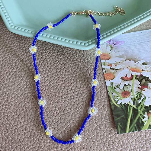 Shangwang - Collar corto perlado hecho a mano colorido, acrílico, flor de margarita, transparente