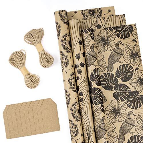 RUSPEPA Einwickeln Von Papierrollen Mit Etiketten, Juteschnur - 43 cm X 3 Meter Pro Rolle, Insgesamt 3 Rollen, Blumen Schwarz