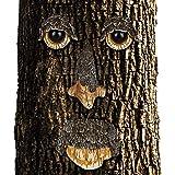 Relaxdays Baumgesicht Naturgeist, 4-teilig, Baumstamm Deko, wetterfest, Baumdeko zum Hängen, Gartendeko, braun/beige