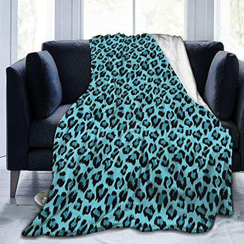 Needlove Teal and Black Leopard or Jaguar Fur Pattern Throw Blanket Suitable Ultra Soft Weighted Bedding Fleece Blanket for Sofa Bed Office 50'x40' Travel Multi-Size for Adult