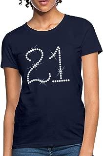21st Birthday Printed Rhinestones Women's T-Shirt