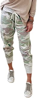 Womens Fashion Printed Casual Drawstring Elastic Waist Sweatpants Cotton Soft Lightweight Jogger Pants with Pockets
