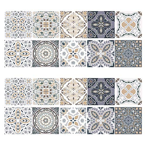 20 stück Mosaik Fliesenaufkleber, Boden Aufkleber Wandfliese Aufkleber Fliesenaufkleber Deko Fliesenfolie für Bad und Küche Deko Fliesenfolie Küche (20x20 cm)