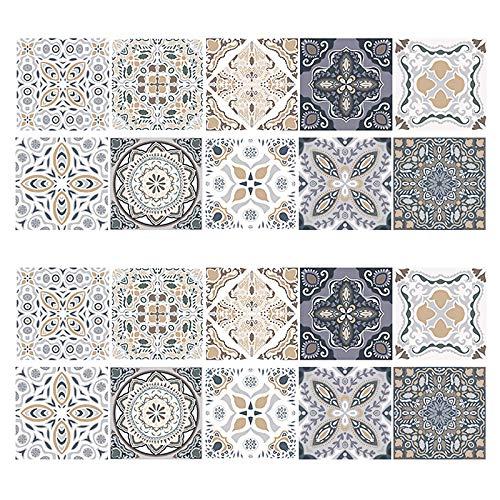 20 Stück Fliesenaufkleber Mosaik, Selbstklebende 3D Fliesen Sticker, Boden Aufkleber, Wasserdicht Fliesensticker Aufkleber Fliesen für Bad Wohnzimmer und Küche Deko (20x20 cm)