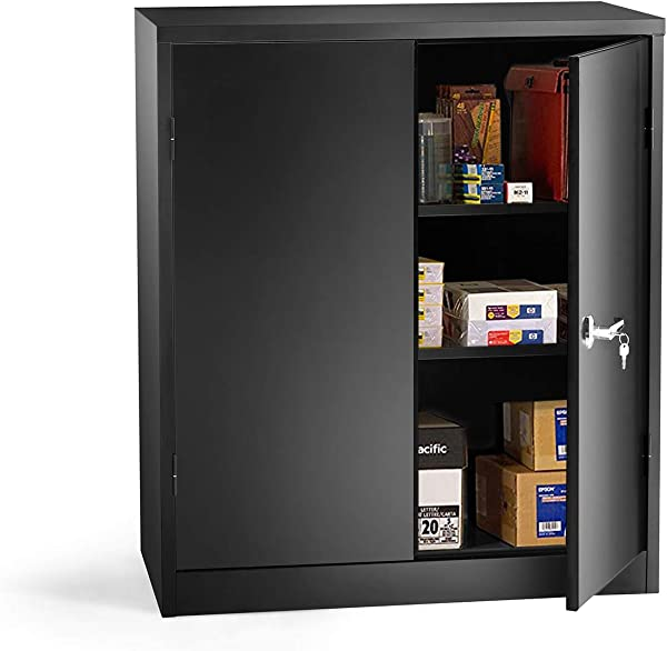 INVIE Black Steel SnapIt Storage Cabinet With 2 Adjustable Shelves Jumbo Storage Cabinet Counter Height