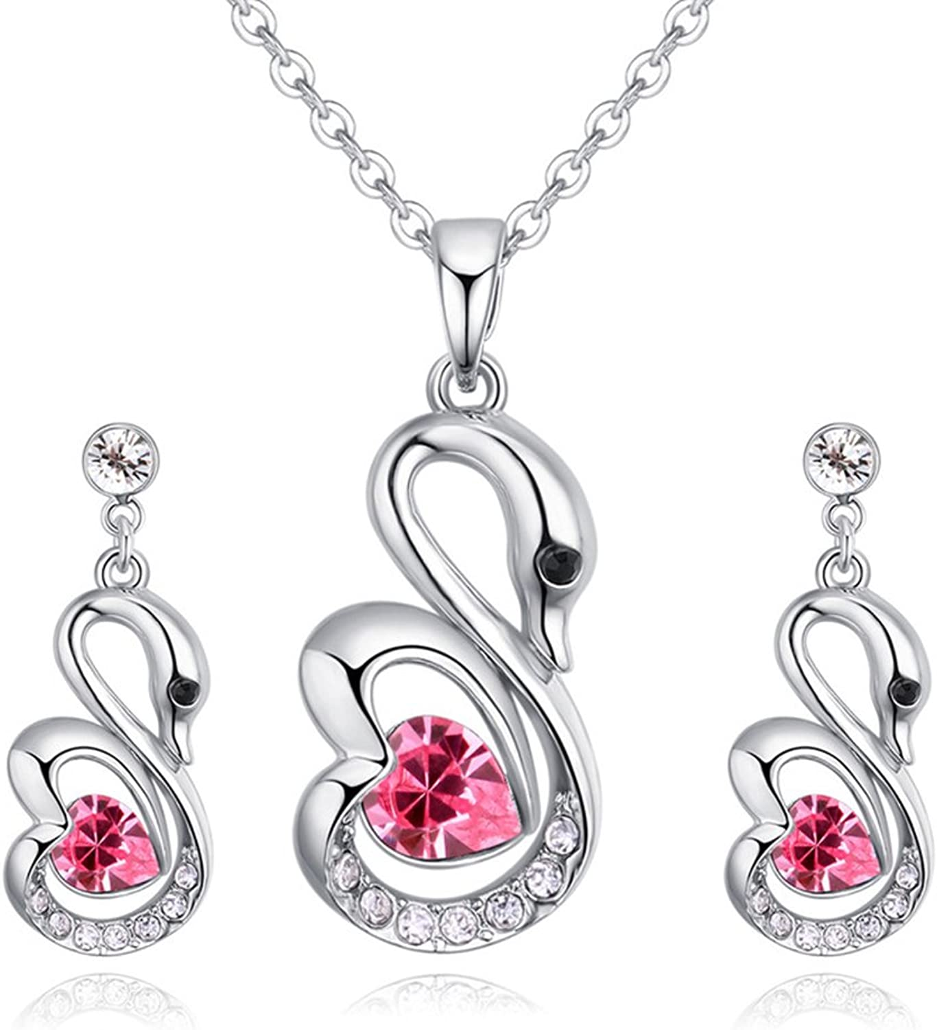 Bridal Jewelry Set Fashion Atmosphere Austrian Crystal Swan HeartShaped Necklace Jewelry Female,pink