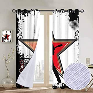 hengshu Rock Music Room Darkened Insulation Grommet Curtain Guitar Player Star Abstract Monochrome Splashes and Halftone Frame Pattern Living Room W96 x L84 Inch Black Red Peach