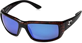 Costa del Mar Men's Fantail Polarized Iridium Rectangular Sunglasses, Tortoise Frame Blue Mirror Glass - W580, 58.9 mm