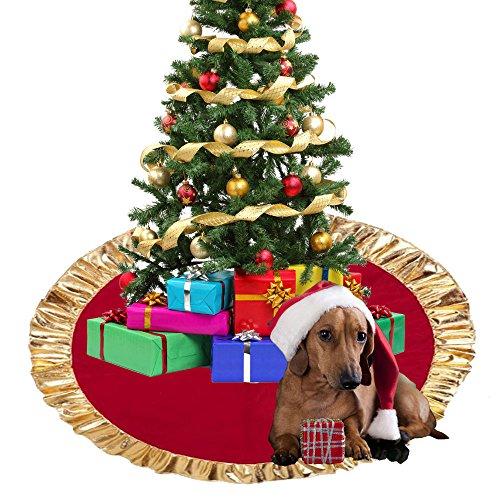 Tapis de Jupe de Sapin de Noël Rouge doré Décoration de Sapin de Noël Décoration de Noël Décoration de Noël Décoration de Noël Décoration de fête 89 cm