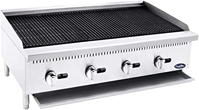 CookRite ATCB-48 Stainless Lava Rock Charbroiler Grill Char-Rock Broiler Natural Gas - 140,000 BTU