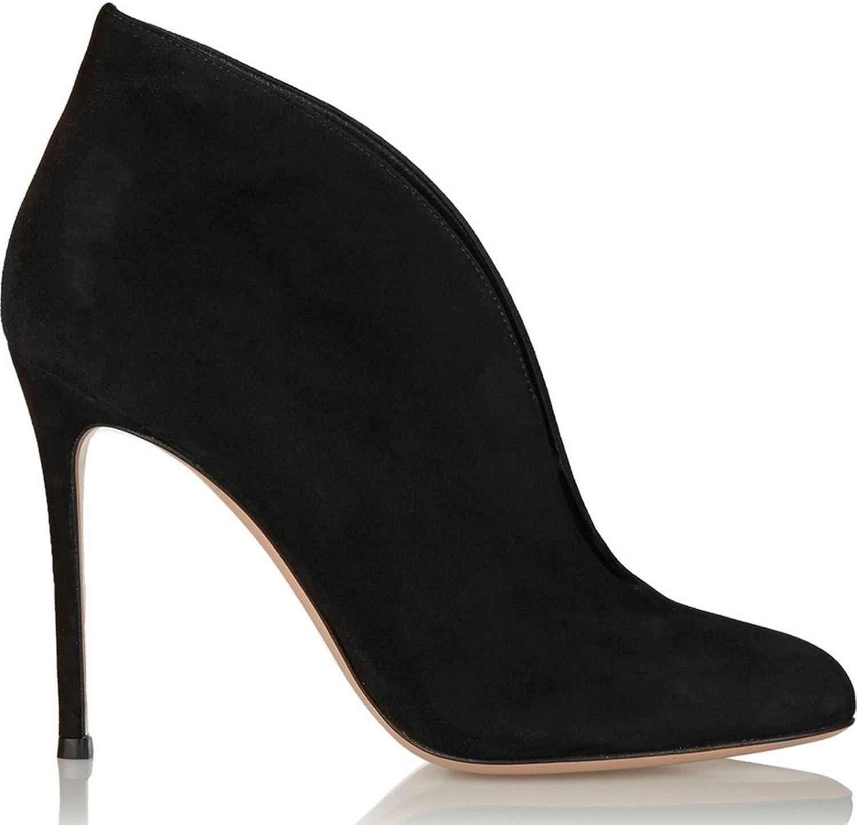 TDA Women's Sexy Wrap Heel Satin Peep Toe Ankle Boots