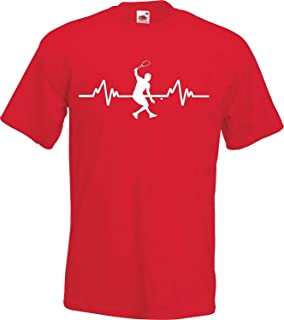 Summy dogs Tees Heartbeat Squash Sports Player T-Shirt (Small)