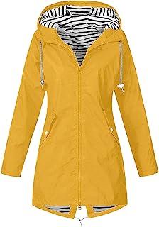 YOYHX Rainproof Coat Women's Solid Outdoor Windproof Sun Protection Sportswear Rain Jackets with Hood Flap Pockets Long Sl...