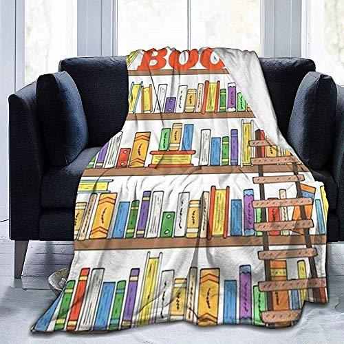 Wobuzhidaoshamingzi Books On The Shelf fleecedeken van ultrazacht flanel van fluweel