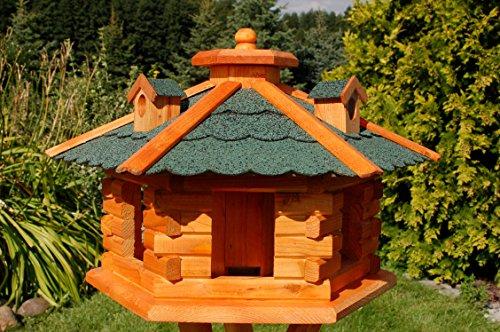 Vogelhaus Futterhaus Vogelvilla mit Solarbeleuchtung und Silo klein und Groß V16 (Grün, groß), Vogelfutterhaus